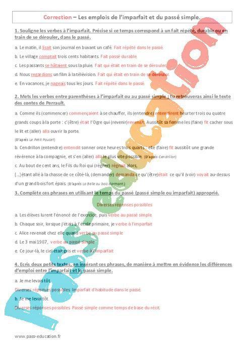 Emplois Du Passe Simple Et De L Imparfait 6eme Evaluation A