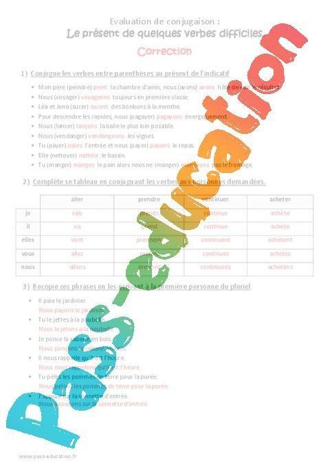 Present Cm2 Bilan Sur Les Verbes Difficiles Par Pass Education Fr Jenseigne Fr