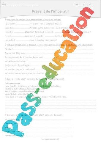 Image de Impératif présent – Cm2 – Exercices à imprimer