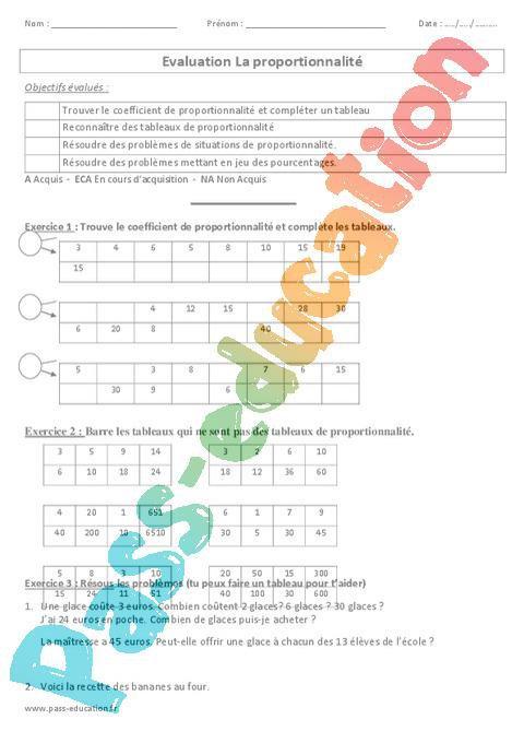 Proportionnalité - Cm1 - Cm2 - Evaluation par Pass ...