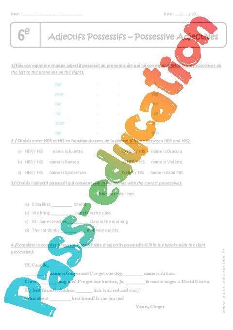 Adjectifs Possessifs 6eme Exercices Corriges Par Pass Education Fr Jenseigne Fr