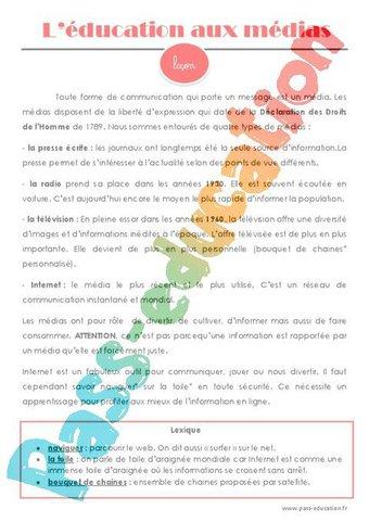 Image de Education aux médias – Cm1 – Cm2 – Leçon