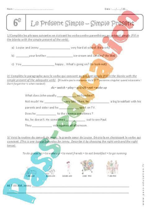 Verbes au présent simple - 6ème - Exercices à imprimer par ...