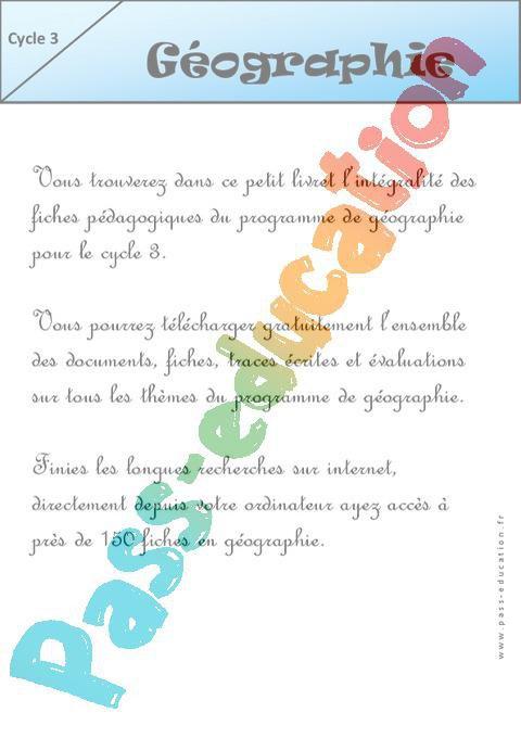 Géographie - Programme - Ce2 - Cm1 - Cm2 - Exercices - Evaluations - Bilans - Révisions ...