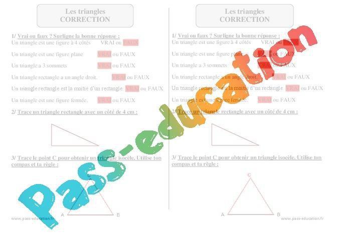 Triangles Ce2 Exercices Avec Correction Geometrie Par Pass Education Fr Jenseigne Fr