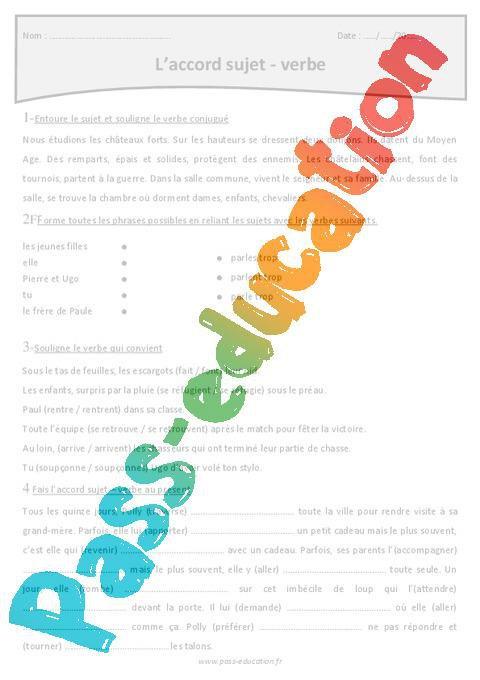 Accord Sujet Verbe Cm1 Exercices Corriges A Imprimer Par Pass Education Fr Jenseigne Fr