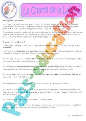 Image de Charte de la Laïcité – Documents – Questionnaire – Correction