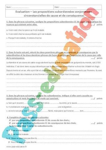 Image de Cause – Conséquence – 4ème – Evaluation sur les propositions subordonnées