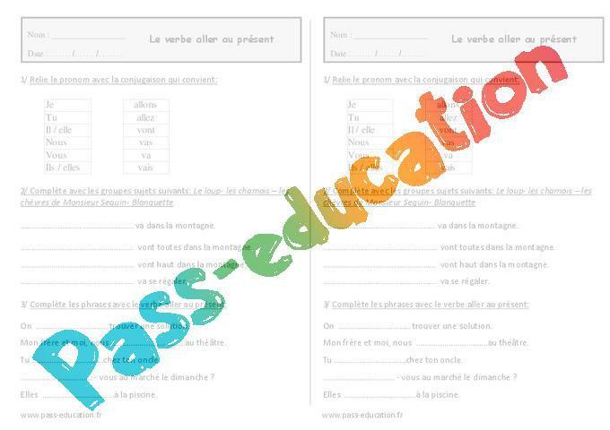 Verbe Aller Au Present Ce1 Exercices A Imprimer Par Pass Education Fr Jenseigne Fr