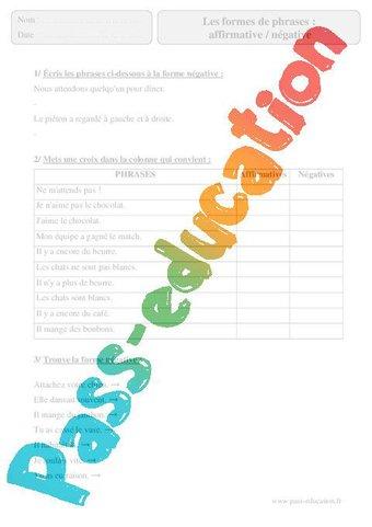 Image de Formes de phrases – Affirmative / Négative – Cm2 – Exercices corrigés – Grammaire – Français – Cycle 3