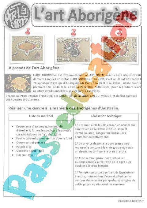 Art Aborigene Ce1 Ce2 Cm1 Cm2 Arts Visuels Cycle 3 Par