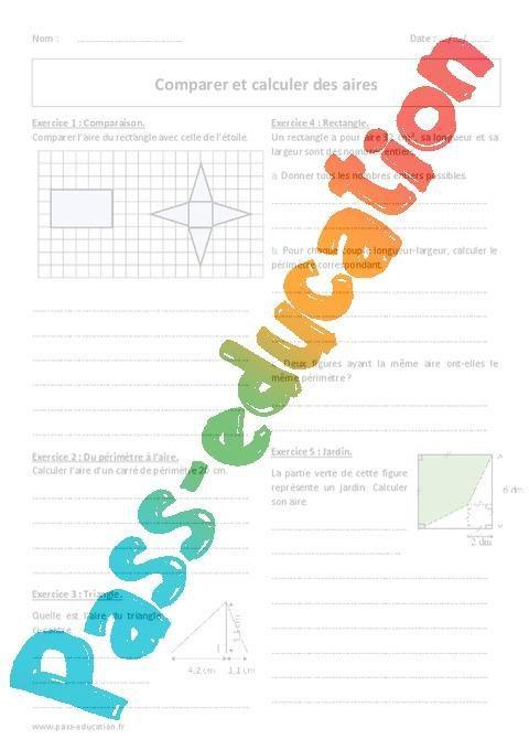 Aires Calculer Et Comparer 6eme Exercices Corriges Par Pass Education Fr Jenseigne Fr
