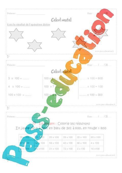 Calcul Mental Cm1 Exercice Et Bilan Semaine 5 A 8 Par Pass Education Fr Jenseigne Fr