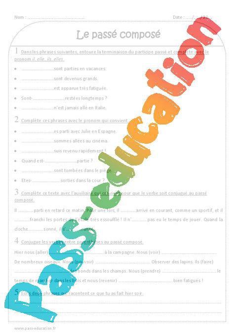 Passe Compose Ce2 Exercices A Imprimer Avec Correction Par Pass Education Fr Jenseigne Fr