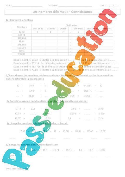 Nombres Decimaux Connaissance Exercices Corriges Cm1 Cm2 Numeration Cycle 3 Par Pass Education Fr Jenseigne Fr