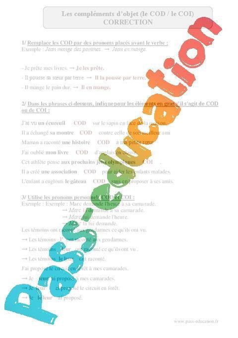 Cod Coi Complements D Objet Cm2 Exercices Corriges Grammaire Cycle 3 Par Pass Education Fr Jenseigne Fr
