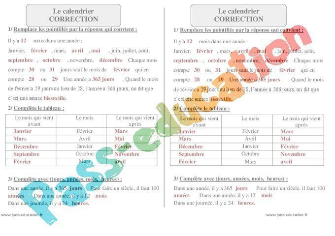 Lire Un Calendrier Ce1.Calendrier Ce1 Exercices A Imprimer Par Pass Education
