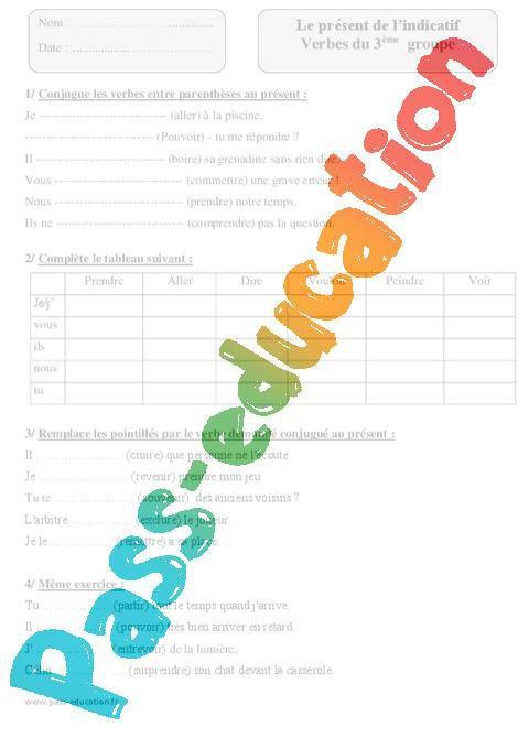 Verbes Du 3eme Groupe Present De L Indicatif Cm1 Exercices A Imprimer Par Pass Education Fr Jenseigne Fr