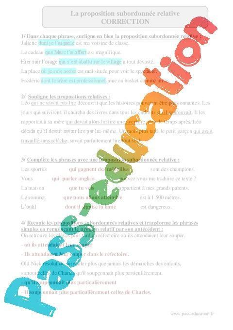 Proposition Subordonnee Relative Cm2 Exercices Corriges Grammaire Cycle 3 Par Pass Education Fr Jenseigne Fr