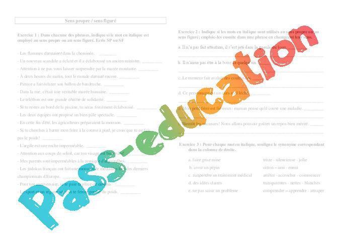 Sens Propre Sens Figure Ce2 Exercices Vocabulaire Cycle 3 Par Pass Education Fr Jenseigne Fr