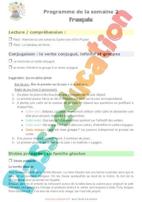 Semaine 2 Ecole A La Maison Cm2 Par Pass Education Fr Jenseigne Fr