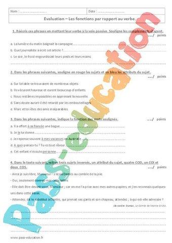 Image de Fonctions par rapport au verbe – 4ème – Contrôle