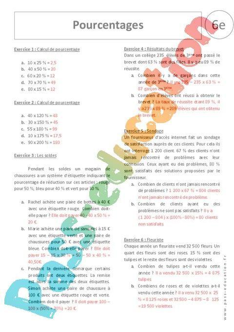 Pourcentages 6ème Exercices Corrigés Proportionnalité
