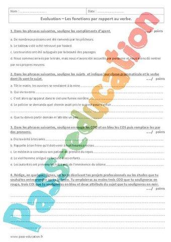 Image de Fonctions essentielles par rapport au verbe – 4ème – Evaluation avec le corrigé
