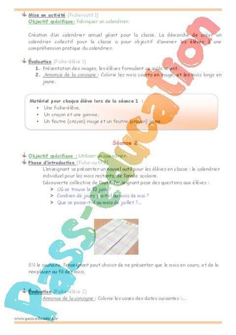 Calendrier Classe De Laurene.Utiliser Un Calendrier Grande Section Plan De Sequence