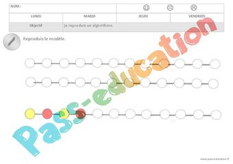 Image de Algorithmes – Couleurs – Graphismes – Maternelle – Petite section – Moyenne section – Cycle 1