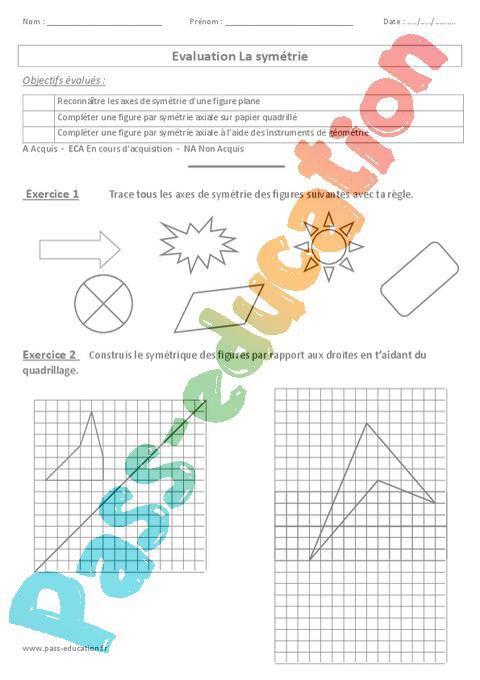 Symétrie - Evaluation - Cm1 - Cm2 par Pass-education.fr - jenseigne.fr