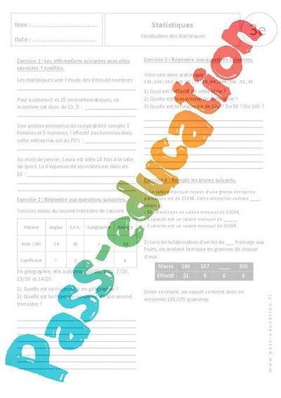 Vocabulaire des statistiques - 3ème - Exercices corrigés ...
