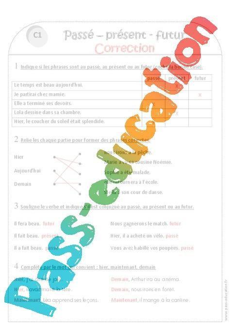 Passe Present Futur Ce1 Exercices A Imprimer Par Pass Education Fr Jenseigne Fr