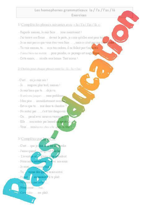 La L A L As La Homophones Grammaticaux Cm1 Exercices Orthographe Cycle 3 Par Pass Education Fr Jenseigne Fr