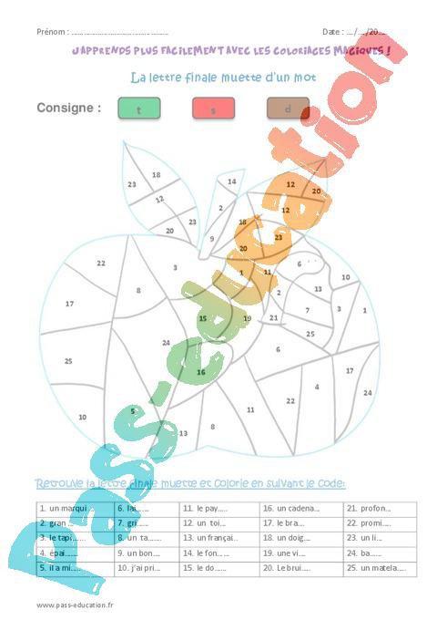 Coloriage Code Cm2.Lettre Finale Muette D Un Mot Cm2 Coloriage Magique Par Pass