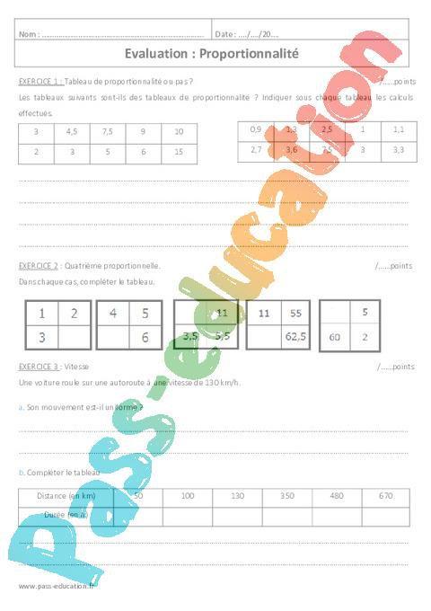 Proportionnalite 5eme Controle A Imprimer Par Pass Education Fr Jenseigne Fr