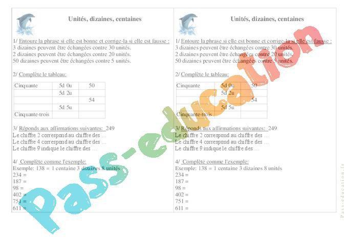 Unités, Dizaines, Centaines - Ce1 - Exercices - Numération ...