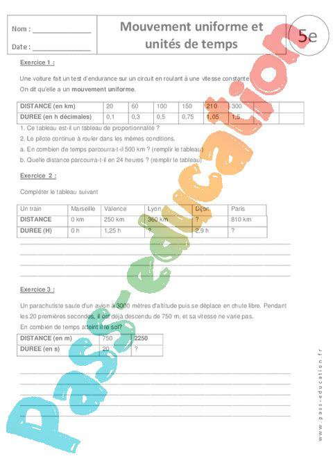 Mouvement uniforme et unités de temps - 5ème - Exercices corrigés par Pass-education.fr ...