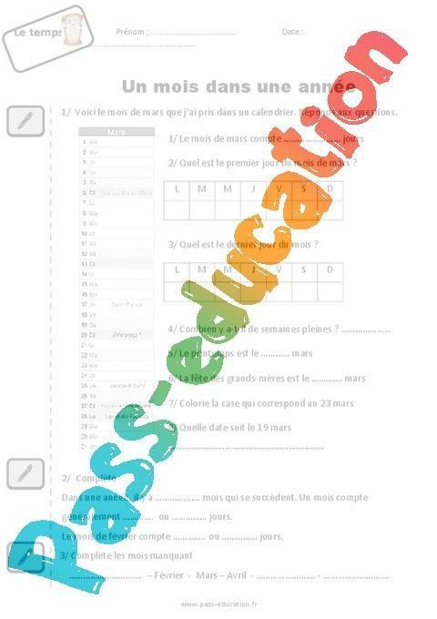 Un Mois Dans Une Annee Cp Exercices Par Pass Education Fr Jenseigne Fr