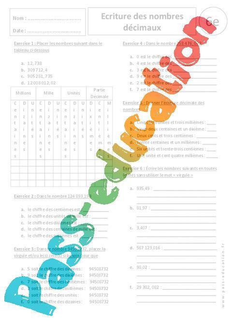 Ecriture Des Nombres Decimaux 6eme Exercices Corriges Par Pass Education Fr Jenseigne Fr