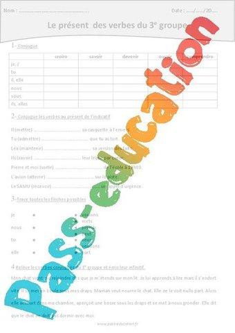 Image de Verbes du 3ème groupe – Présent – Cm1– Exercices