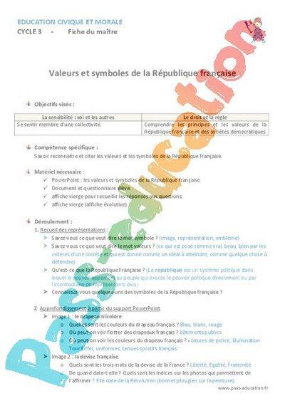 Valeurs et symboles de la république - Cm1 - Cm2 - Leçon