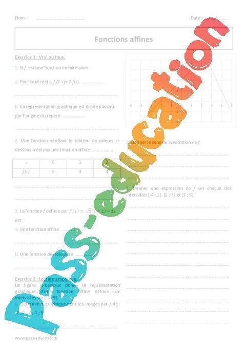 Fonction Affine Seconde Exercices A Imprimer Par Pass Education Fr Jenseigne Fr
