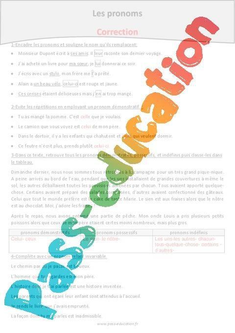 Pronoms Cm2 Exercices A Imprimer Par Pass Education Fr Jenseigne Fr