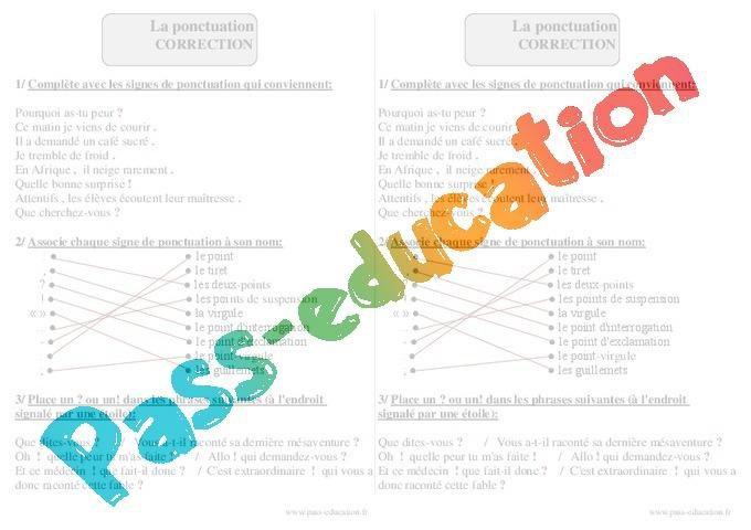 Ponctuation Ce2 Exercices Corriges Par Pass Education Fr Jenseigne Fr