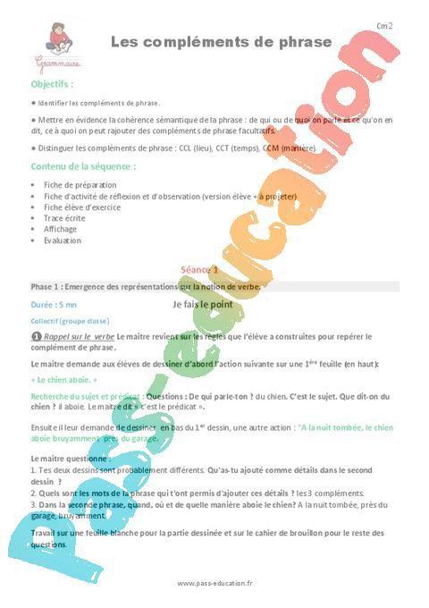 Complements De Phrase Cm1 Fiche De Preparation Par Pass