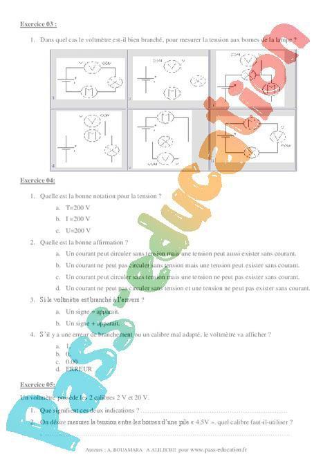 Tension électrique - Exercices corrigés - 4ème - Physique ...