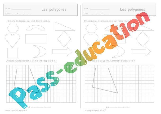 Polygones Ce1 Exercices De Geometrie Par Pass Education Fr Jenseigne Fr
