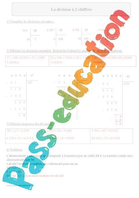 Division A 2 Chiffres Cm2 Exercices Corriges Calcul Mathematiques Cycle 3 Par Pass Education Fr Jenseigne Fr