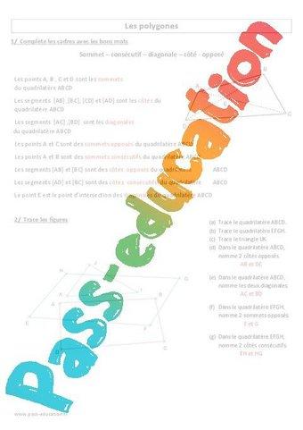 Polygones - Vocabulaire - Cm1 - Exercices corrigés par Pass-education.fr - jenseigne.fr